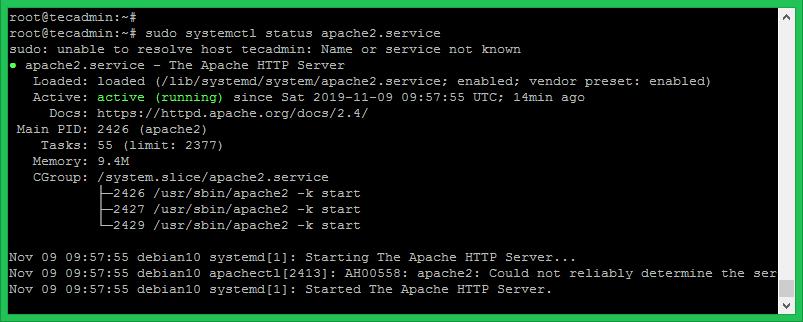 Apache Service Status Debian