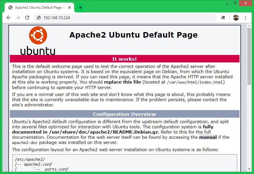 Install Apache2 on Ubuntu 18.04