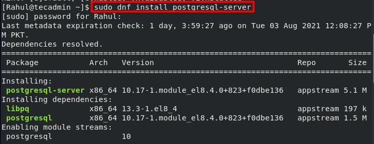 Installing PostgreSQL on CentOS 8