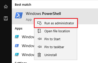 Launch powershell as administrator