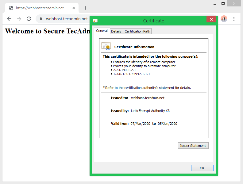 Let's encrypt Apache