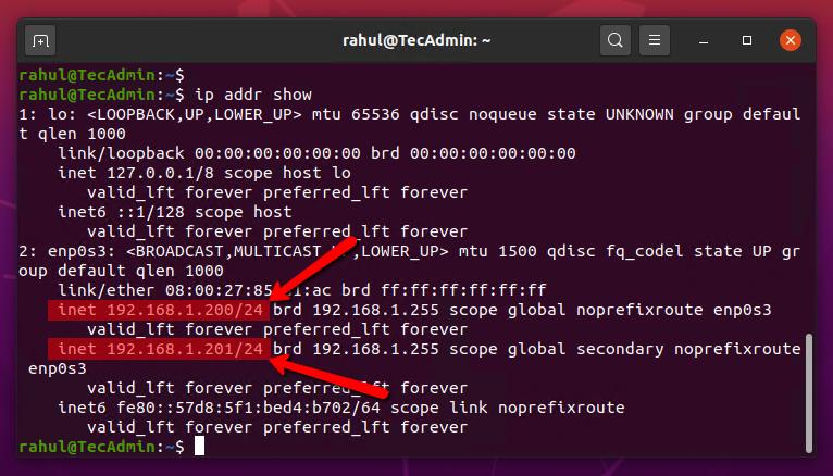 Multiple static IP on Ubuntu 20.04