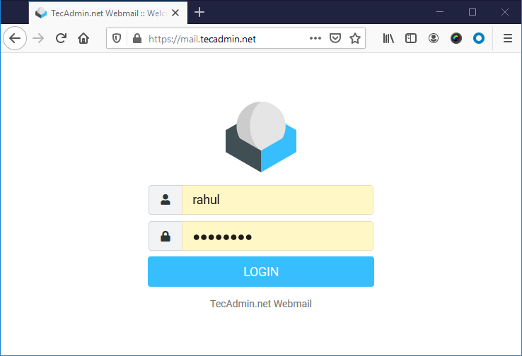 Rouncube webmail login page