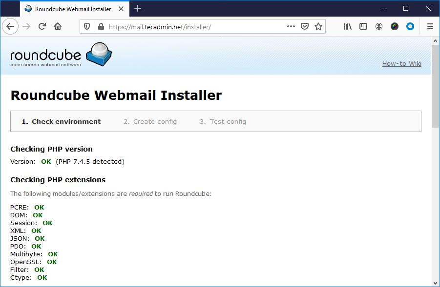 Rouncube web install step 1