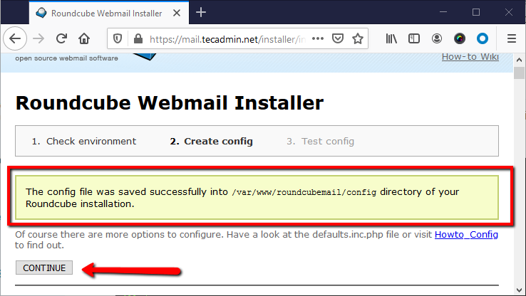 Rouncube web install step 4