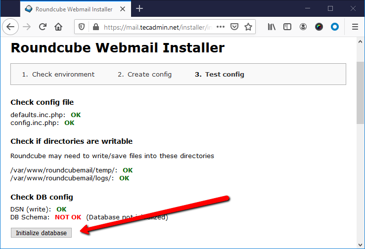 Rouncube web install step 5