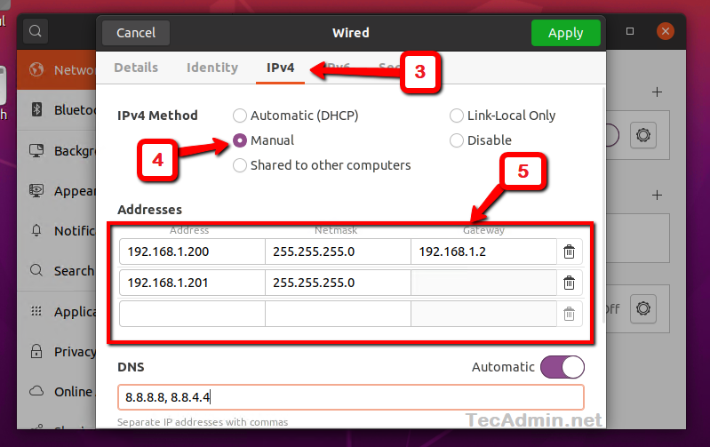Set Static IP Ubuntu 20.04