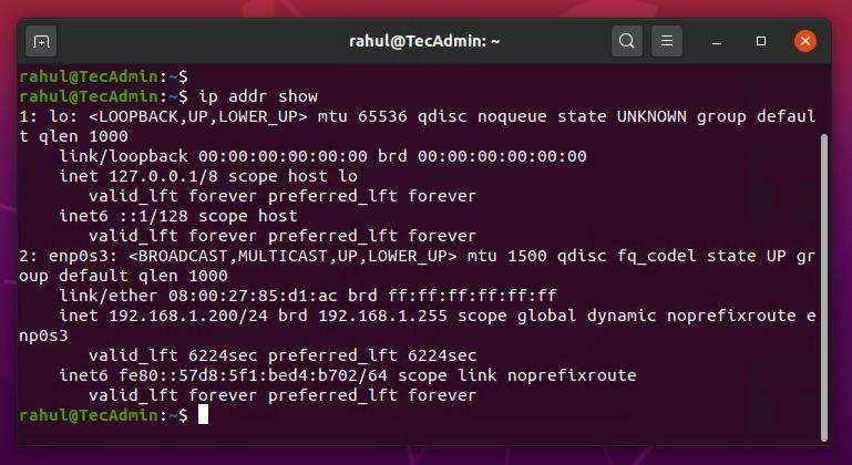 show ip command line Ubuntu 20.04