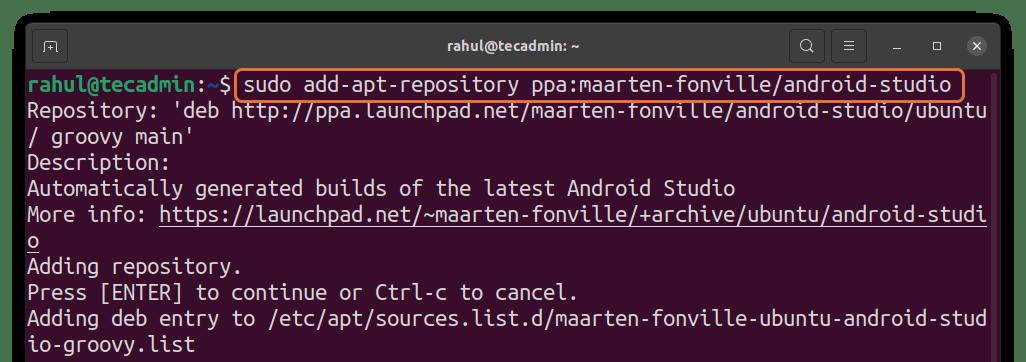 Adding Android Studio PPA on Ubuntu 20.04