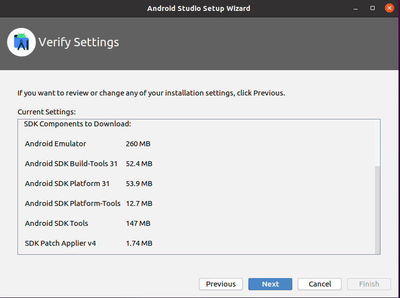 Android Studio First Launch Settings