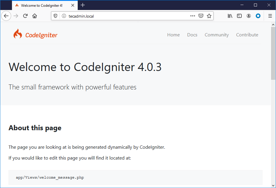 Setup codeigniter on Ubuntu