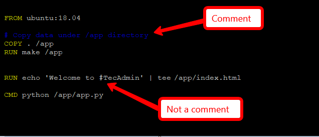 Add comment in dockerfile