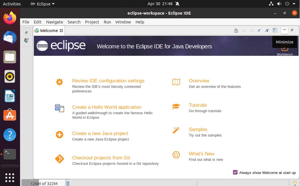 Eclipse on Ubuntu 20.04