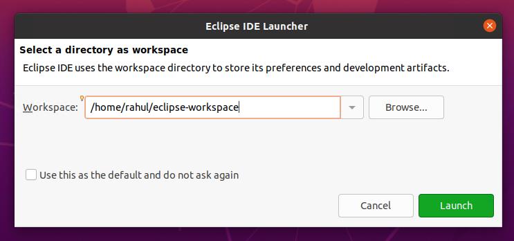 Eclipse set workplace
