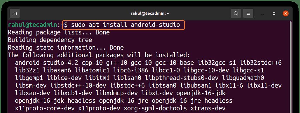 Installing Android Studio on Ubuntu 20.04