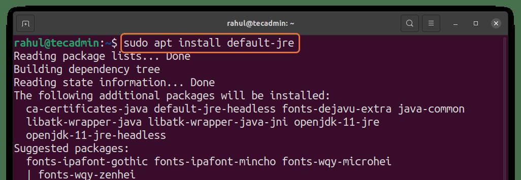 Installing JRE on Ubuntu 20.04