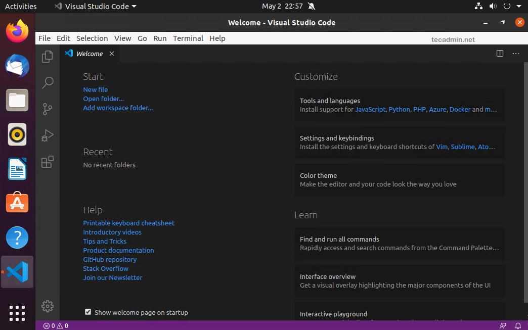 Visual Studio Code on Ubuntu