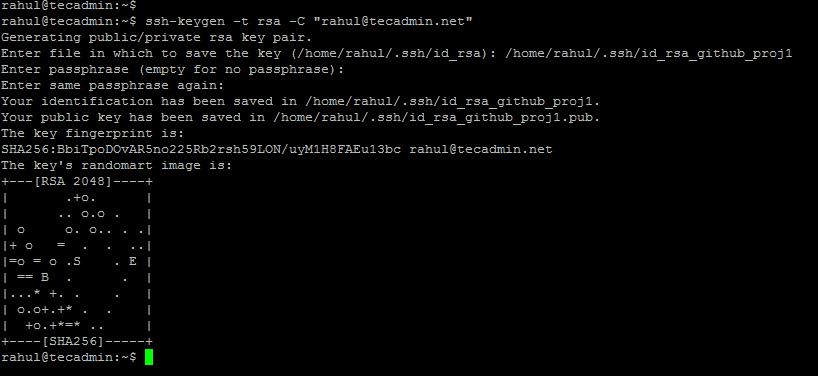 Create SSH Key pair for Github