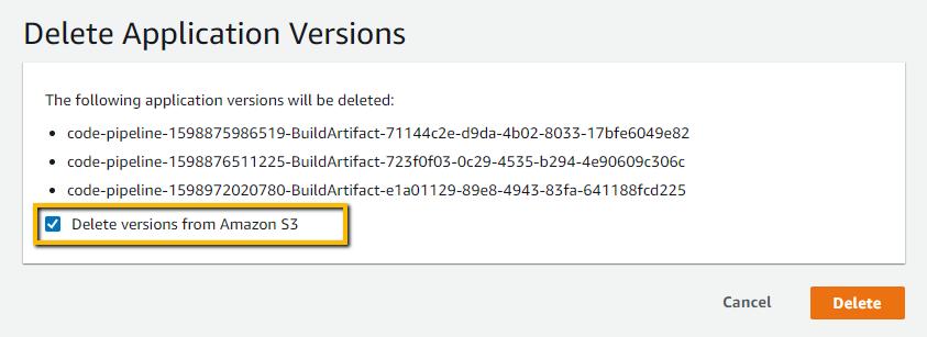 delete beanstalk application version's