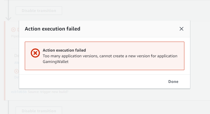Too many application versions, cannot create a new version for application
