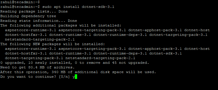 install dotnet core ubuntu