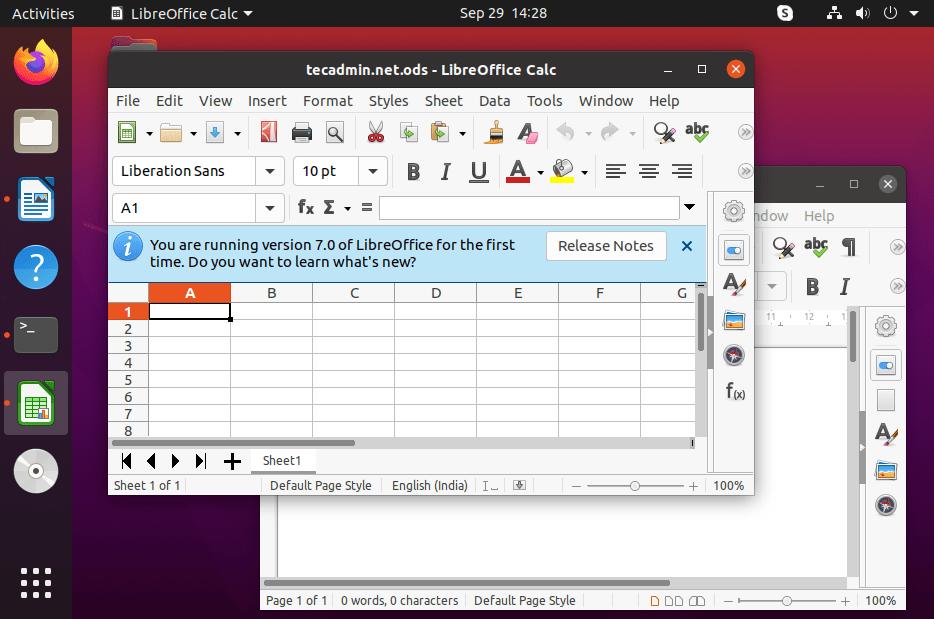 Working with Libreoffice on Ubuntu 20.04