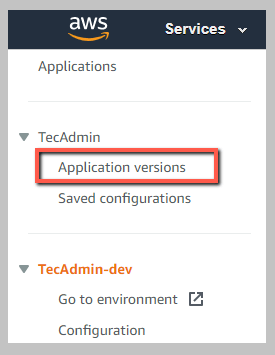 Select application versions in beanstalk