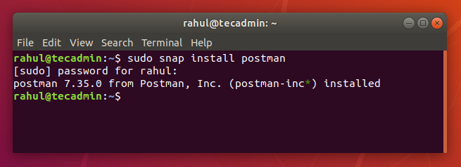 installing postman Ubuntu 18.04