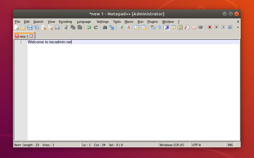 Running nodepad++ on Ubuntu 18.04