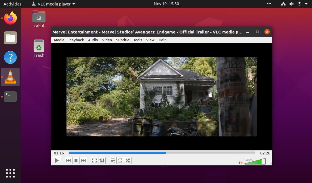 Running  vlc on ubuntu 20.04