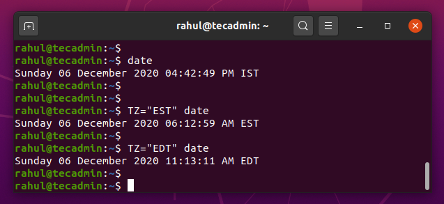 current est time in linux