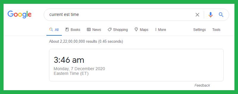 current est time Google