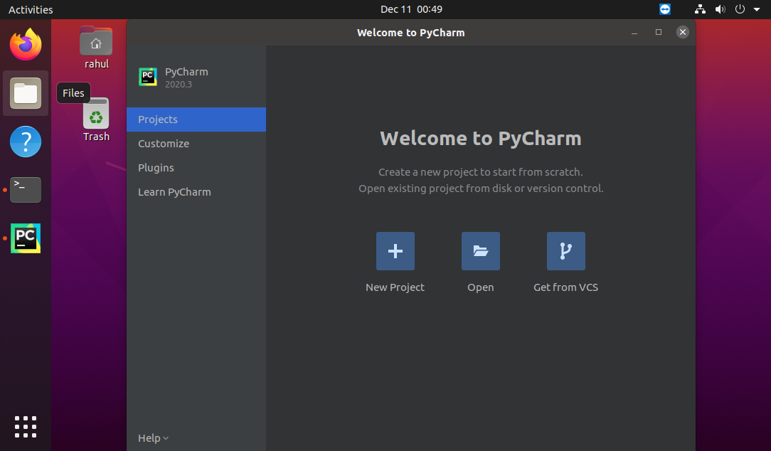 Running Pycharm application