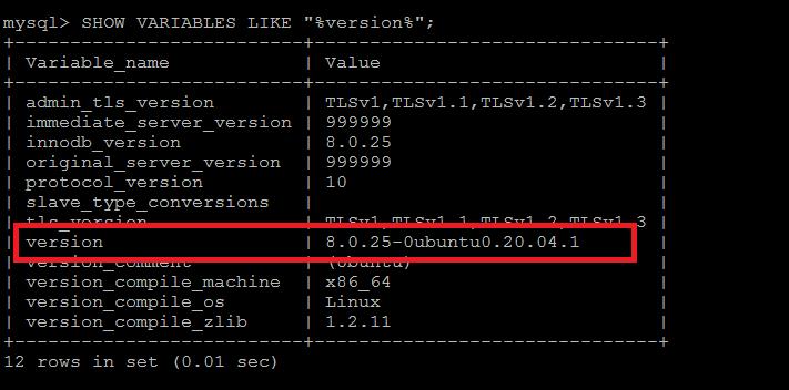MySQL check version