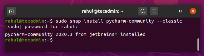 snap install pycharm on ubuntu 20.04