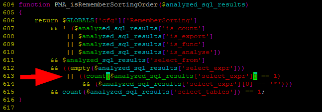 Fixed - Warning in ./libraries/sql.lib.php#613 count()