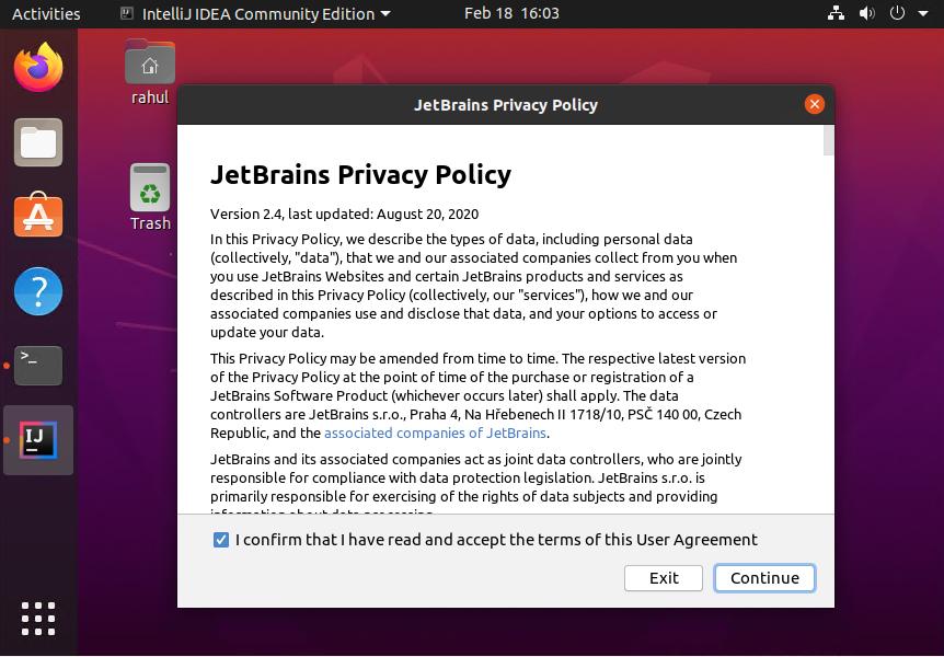 Accept Policy Intellij on Ubuntu 20.04