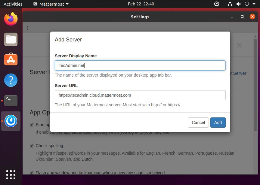 Add Server to Mattermost Desktop