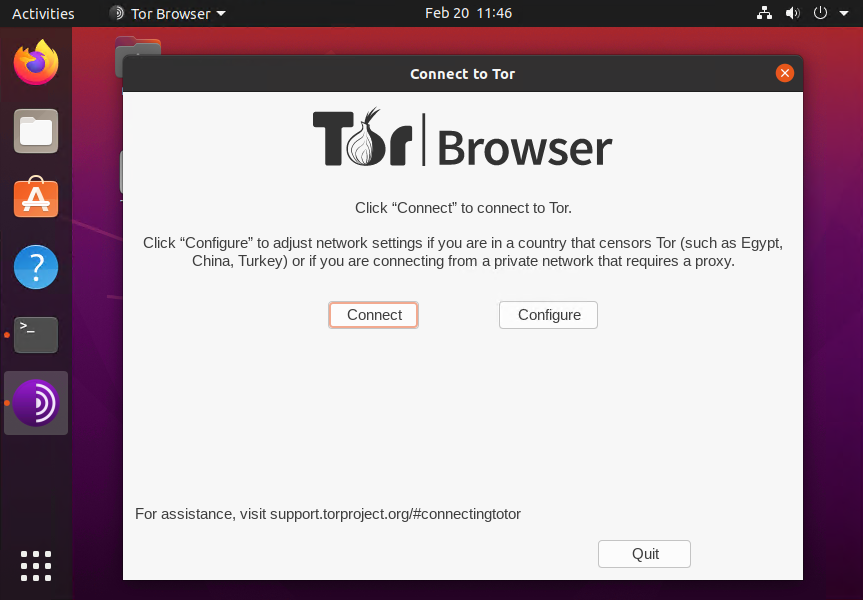 Connect to tor network