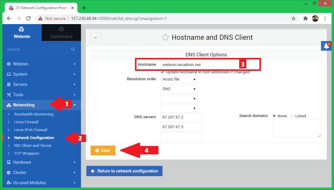 Webmin change system hostname