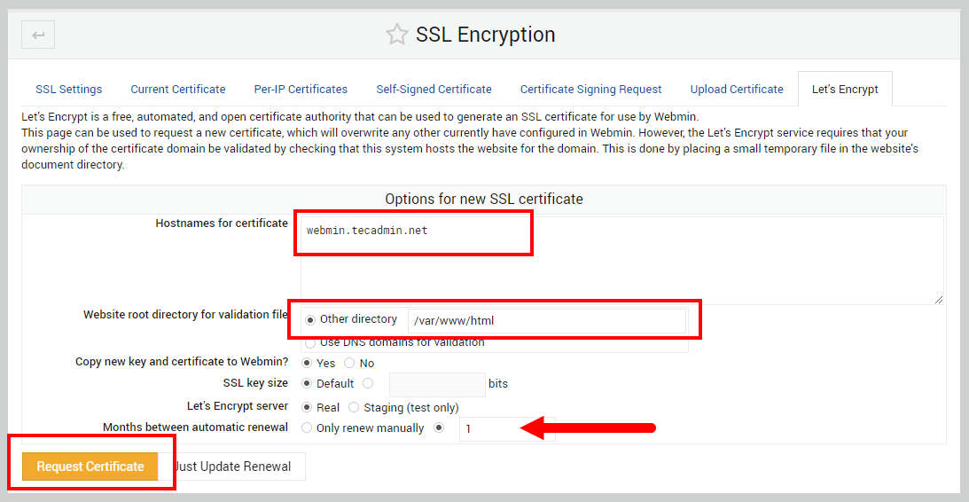 Webmin SSL Cert for Hostname