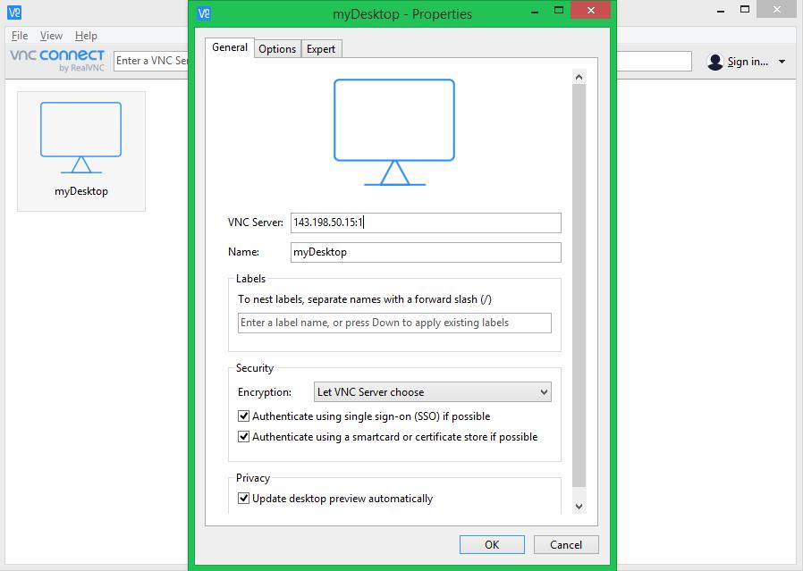 Add server to vnc viewer