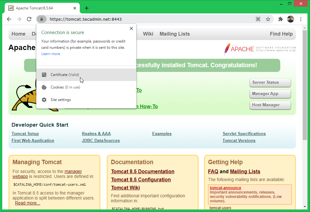 Setup lets encrypt ssl with tomcat