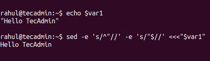 Shell Script Remove Double Quote from String
