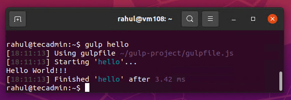 Gulp hello world example