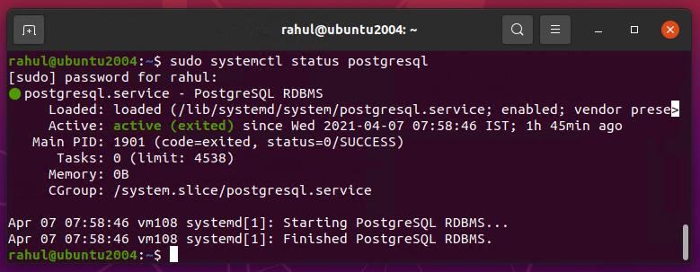 Installing postgresql Ubuntu 20.04 LTS