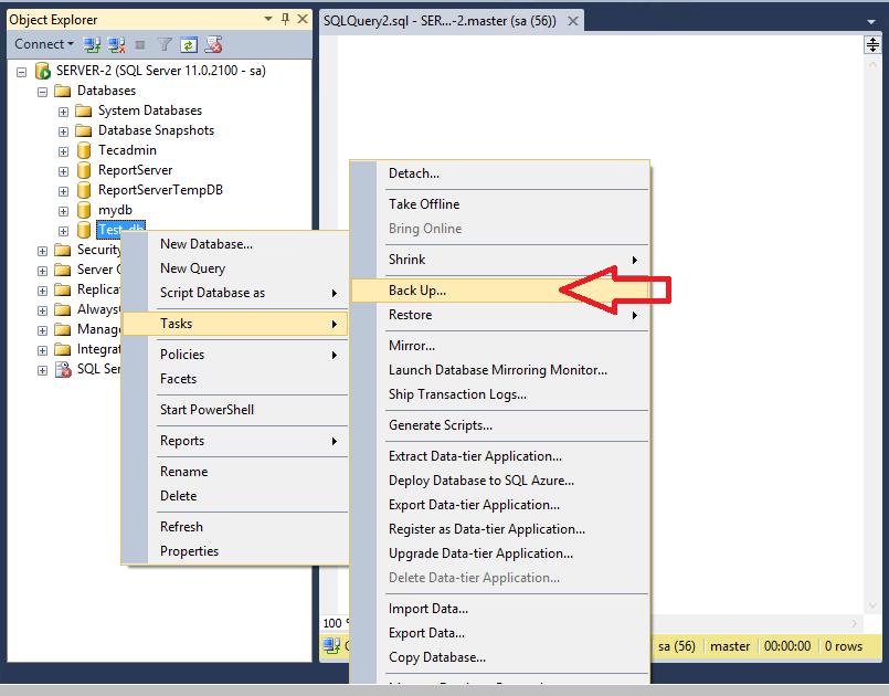 Backup SQL Server Database - Step1