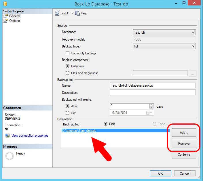 Backup SQL Server Database - Step2