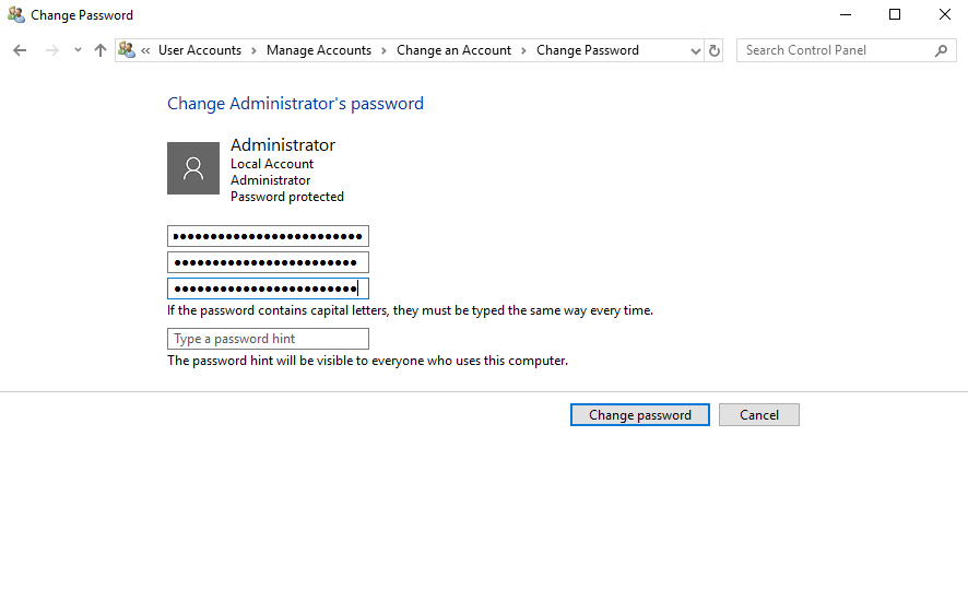 Set a new password for user in Windows Server 2019