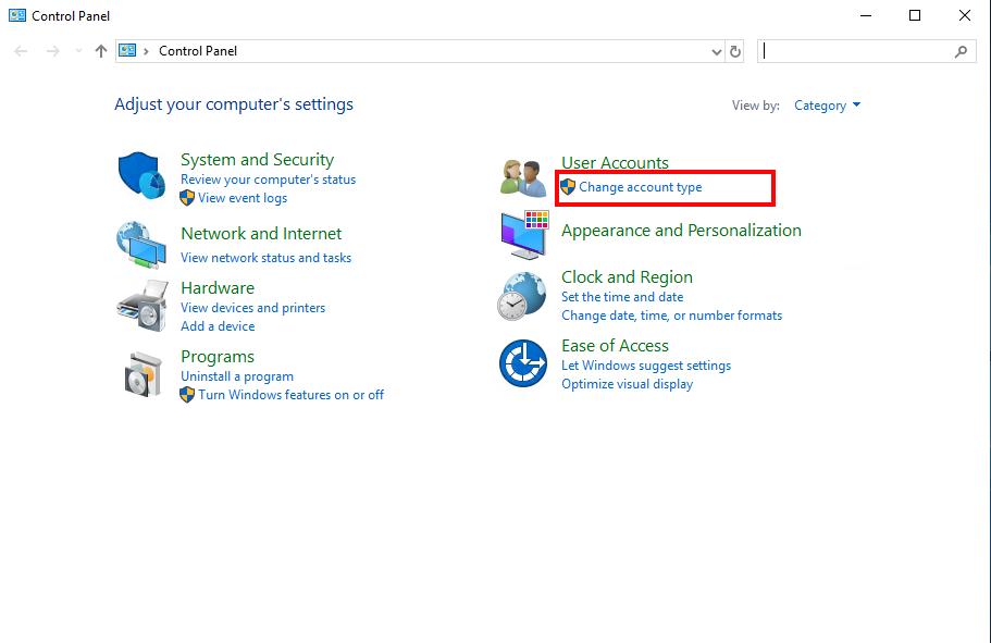 Open Accounts in Windows Server 2019